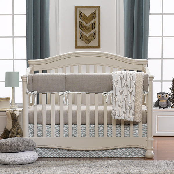Archery (Taupe/Aqua) Bumperless Crib Bedding