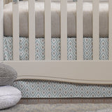 Archery Crib Skirt in Taupe and Aqua