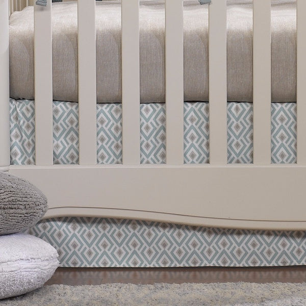 Archery (Taupe and Aqua) Crib Skirt