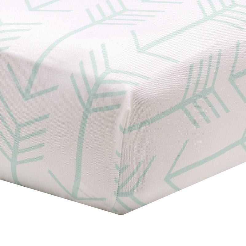 Mint Arrow on White Crib Sheet - liz-and-roo-fine-baby-bedding.myshopify.com