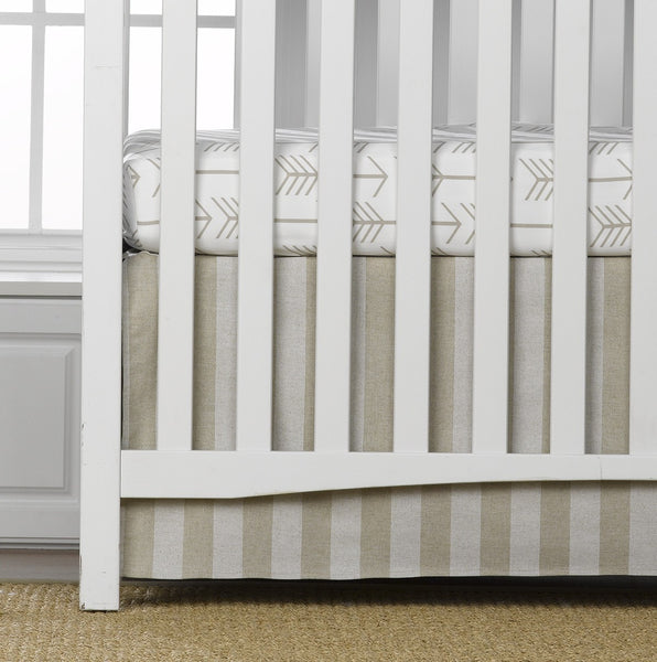 Striped Linen Skirt and Tan Arrow Sheet - 2 pc. Crib Bedding Set - liz-and-roo-fine-baby-bedding.myshopify.com - 1