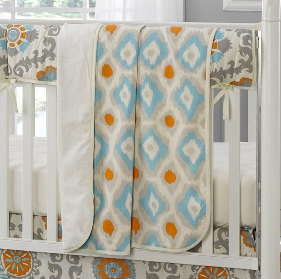 Mandarin Ikat (Orange and Aqua) Minky Receiving Blanket - liz-and-roo-fine-baby-bedding.myshopify.com