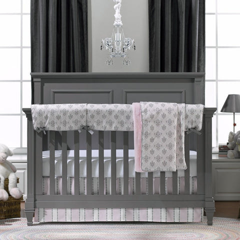 Bella (Pink and Gray) Damask Bumperless Crib Bedding