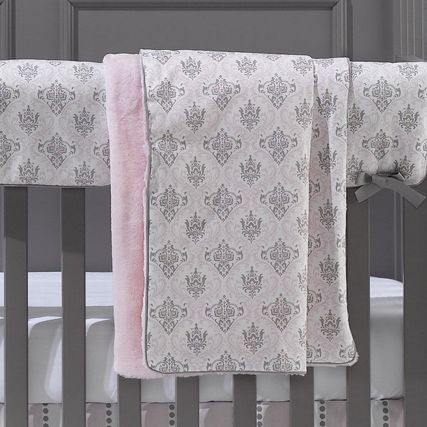 Bella Damask (Pink and Gray) Minky Receiving Blanket - liz-and-roo-fine-baby-bedding.myshopify.com