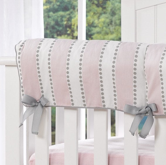 Bella Pink and White Striped Crib Rail Cover - liz-and-roo-fine-baby-bedding.myshopify.com - 1