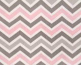 Bella Mini Chevron (Pink and Gray) Oval Crib Sheet - liz-and-roo-fine-baby-bedding.myshopify.com - 2