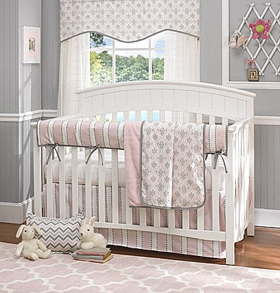 Bella Pink and White Striped Crib Rail Cover - liz-and-roo-fine-baby-bedding.myshopify.com