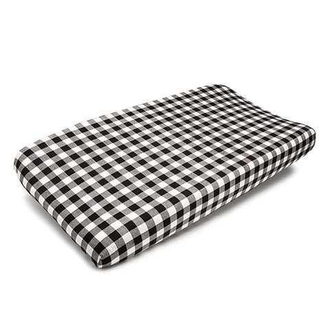 Plaid (Black and White) Contoured Changing Pad Cover