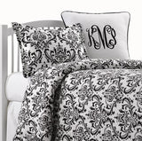 Black and White Damask Bedding Set (Twin, Full, Queen) - liz-and-roo-fine-baby-bedding.myshopify.com - 1