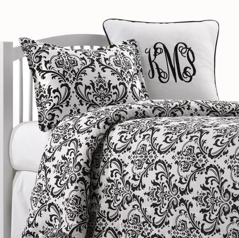 Black and White Damask Bedding Set (Twin, Full, Queen)