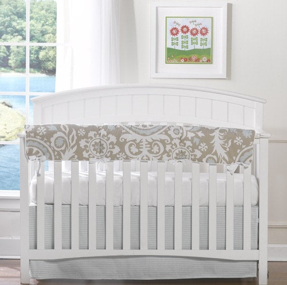 Taupe Suzani 4-pc. Crib Bedding Set - liz-and-roo-fine-baby-bedding.myshopify.com - 1