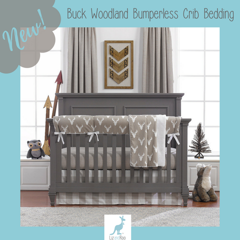 Buck Woodland (Taupe) Bumperless Crib Bedding
