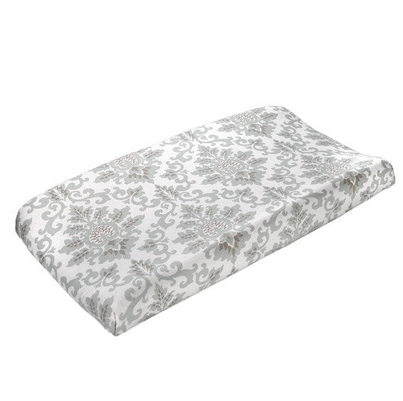 Cecelia (Taupe and Seafoam) Contoured Changing Pad Cover - liz-and-roo-fine-baby-bedding.myshopify.com