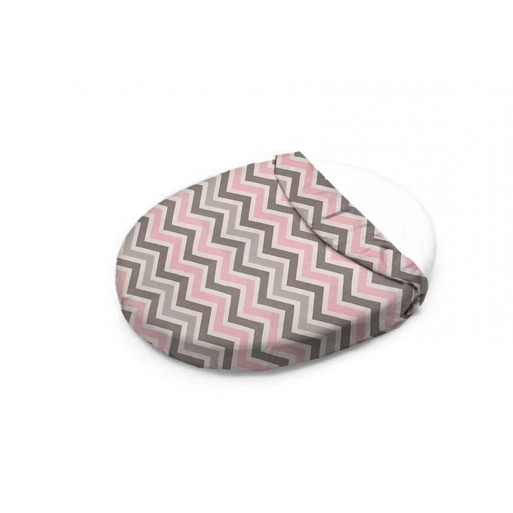 Bella Mini Chevron (Pink and Gray) Oval Crib Sheet - liz-and-roo-fine-baby-bedding.myshopify.com - 1