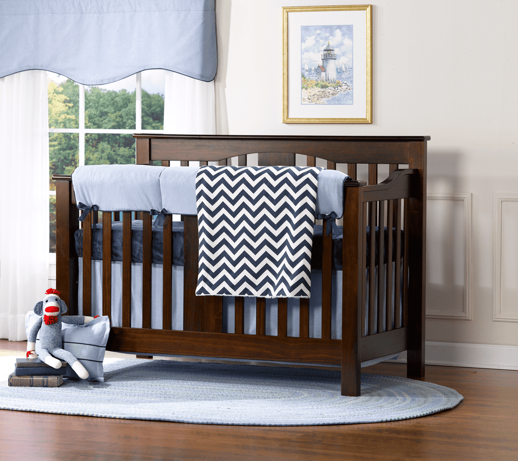Classic Blue Oxford Bumperless Crib Bedding - liz-and-roo-fine-baby-bedding.myshopify.com