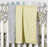 "Eden Collection ""Clover"" (Gray and Yellow) Minky Receiving Blanket - liz-and-roo-fine-baby-bedding.myshopify.com - 1"