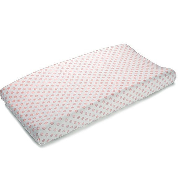Coral Chelsea Contoured Changing Pad Cover - liz-and-roo-fine-baby-bedding.myshopify.com - 1
