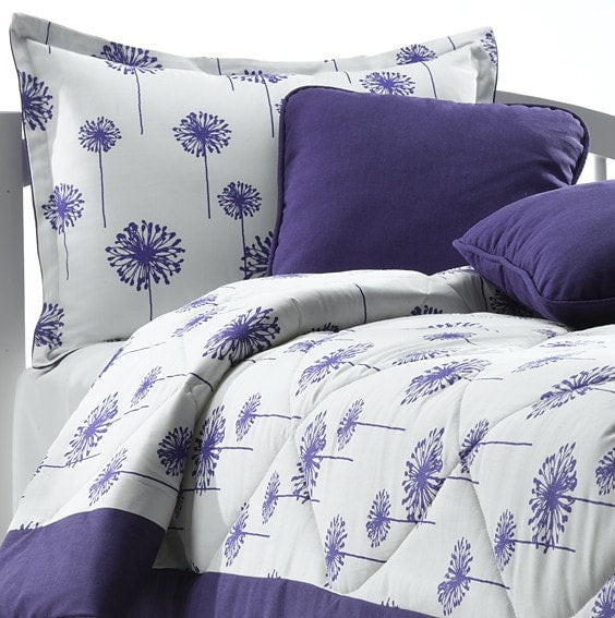 Purple Dandelion Bedding Set + Accent Pillow (Twin) - liz-and-roo-fine-baby-bedding.myshopify.com