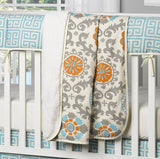 Mandarin Damask (Orange and Aqua) Minky Receiving Blanket - liz-and-roo-fine-baby-bedding.myshopify.com - 1