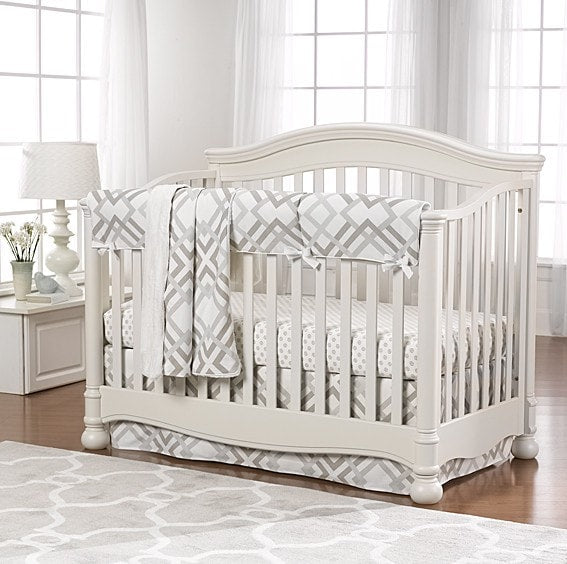 Easton (Gray, Taupe, and Seafoam) Bumperless Crib Bedding - liz-and-roo-fine-baby-bedding.myshopify.com - 1