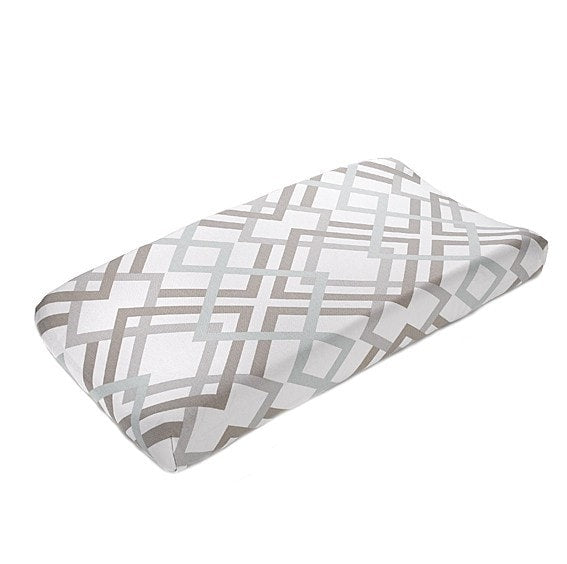 Easton (Gray, Taupe, and Seafoam) Contoured Changing Pad Cover - liz-and-roo-fine-baby-bedding.myshopify.com