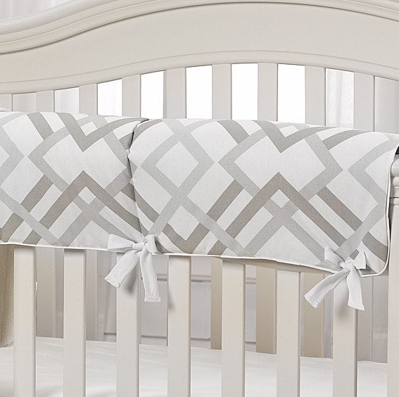 Easton (Gray, Taupe, and Seafoam) Crib Rail Cover - liz-and-roo-fine-baby-bedding.myshopify.com - 1