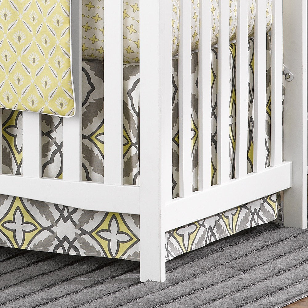 Eden (Gray and Yellow) Crib Skirt - liz-and-roo-fine-baby-bedding.myshopify.com