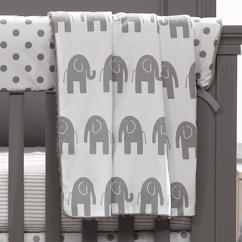 Gray Elephant Minky Receiving Blanket