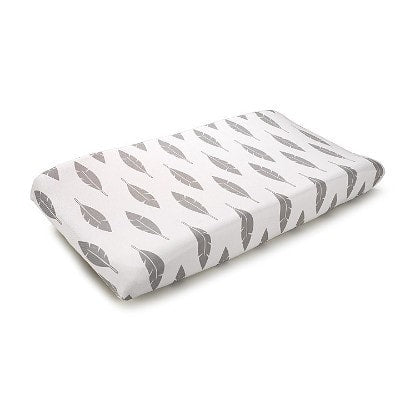 Gray Feathers Contoured Changing Pad Cover