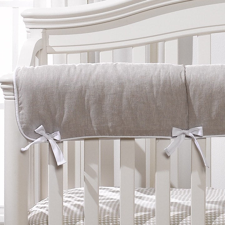 Flax Linen Crib Rail Cover - liz-and-roo-fine-baby-bedding.myshopify.com - 1