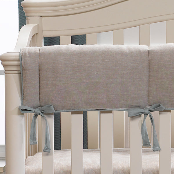 Flax Linen Crib Rail Cover with Willow Linen Trim