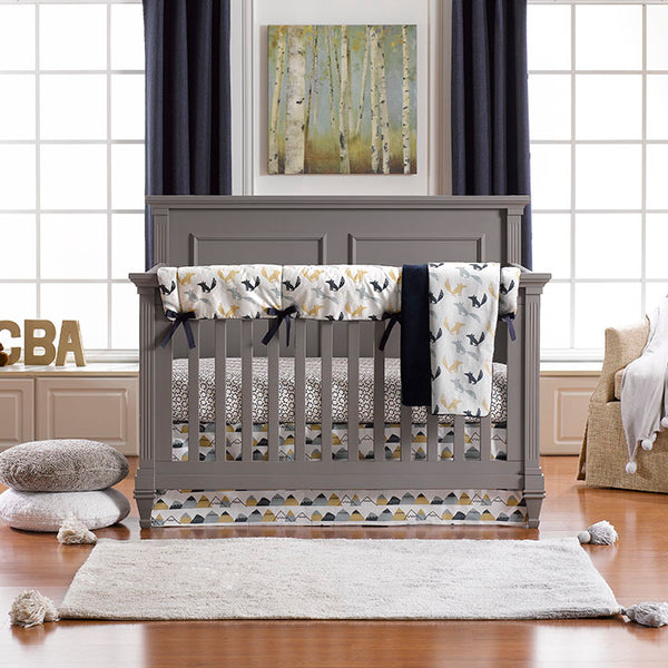 Fox Den (Indigo Multi) Bumperless Crib Bedding
