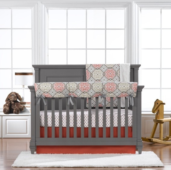 Garden Gate Bumperless Crib Bedding (Coral Skirt) - liz-and-roo-fine-baby-bedding.myshopify.com - 1