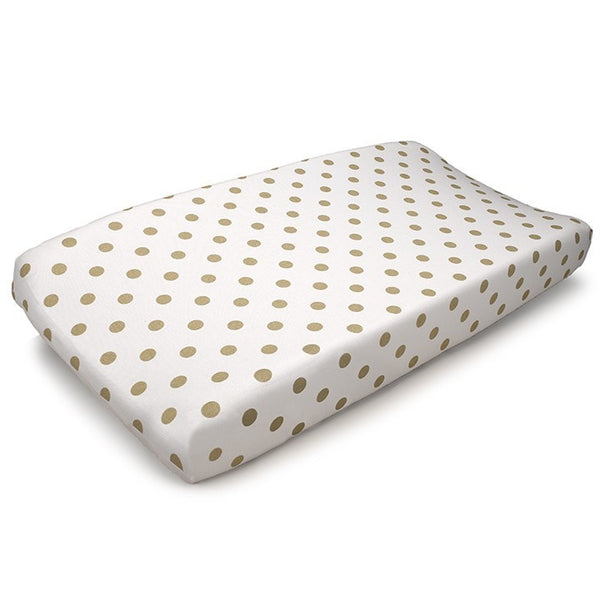Gold Polka Dots Contoured Changing Pad Cover