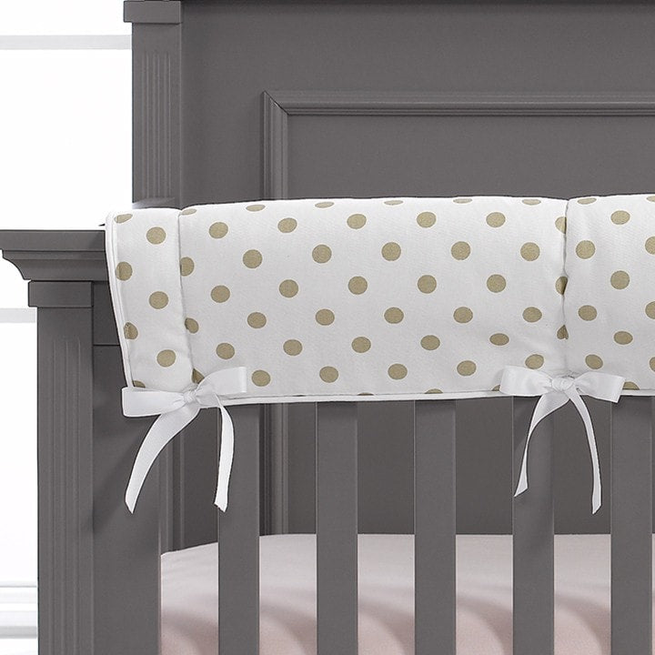 Gold Polka Dots Crib Rail Cover
