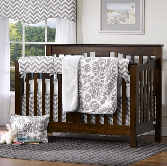 Gray Chevron 4-pc. Crib Bedding Set - SOLD OUT - liz-and-roo-fine-baby-bedding.myshopify.com