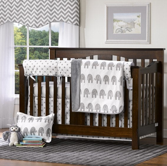 Gray Polka Dot and Elephant Crib Bedding