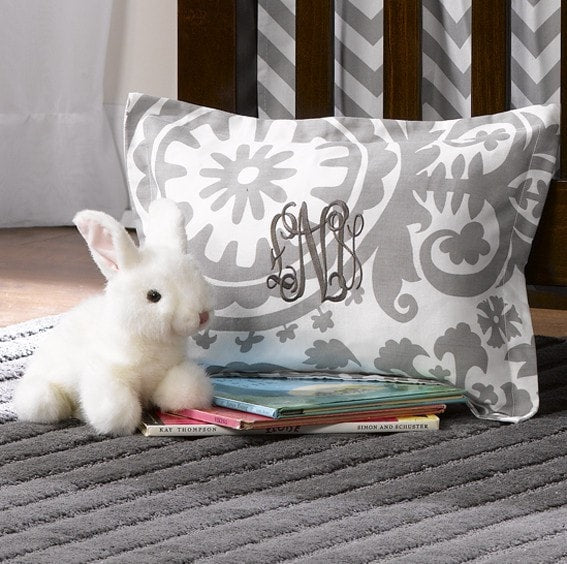 Gray Suzani Baby Pillow Sham - liz-and-roo-fine-baby-bedding.myshopify.com
