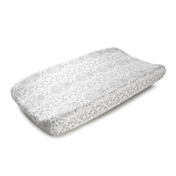 Cloud Gray Bunnies Contoured Changing Pad Cover - liz-and-roo-fine-baby-bedding.myshopify.com