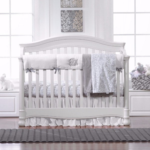 Simply White and Gray Bumperless Bedding - liz-and-roo-fine-baby-bedding.myshopify.com - 1