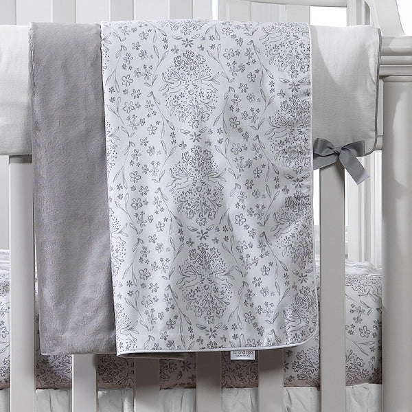 Cloud Gray Bunnies Minky Receiving Blanket - liz-and-roo-fine-baby-bedding.myshopify.com