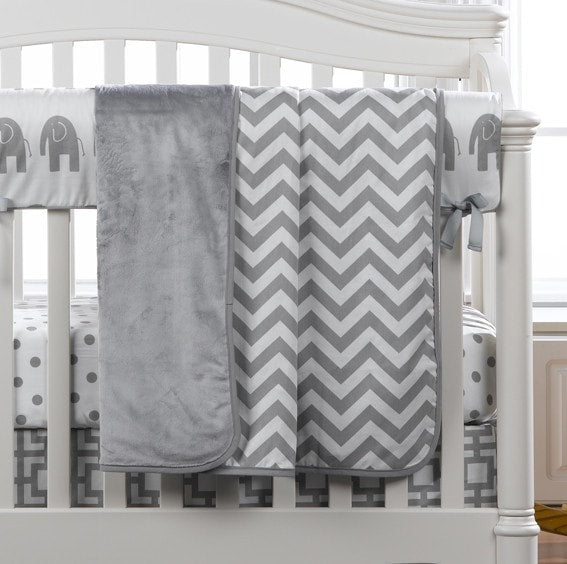 Gray Chevron Minky Receiving Blanket - liz-and-roo-fine-baby-bedding.myshopify.com