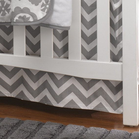 "Gray Chevron Crib Skirt 17"" Drop - liz-and-roo-fine-baby-bedding.myshopify.com"
