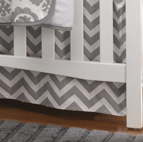 Gray Chevron Crib Skirt 17