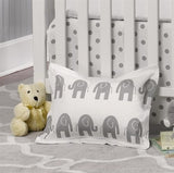 Gray Elephant Baby Pillow Sham - liz-and-roo-fine-baby-bedding.myshopify.com - 2