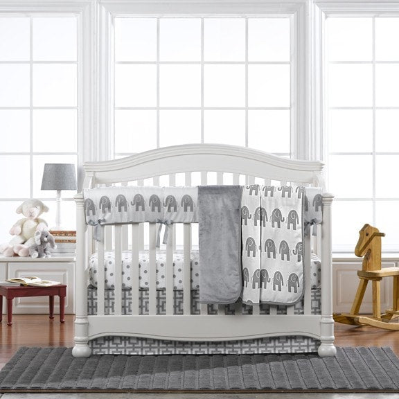 Gray Elephant Crib Bedding (Bumperless) - liz-and-roo-fine-baby-bedding.myshopify.com - 1