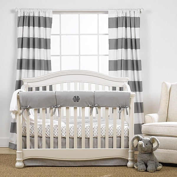 Cabana Stripe Curtains - Gray - liz-and-roo-fine-baby-bedding.myshopify.com