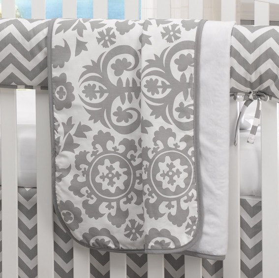 Gray Suzani Minky Receiving Blanket - liz-and-roo-fine-baby-bedding.myshopify.com