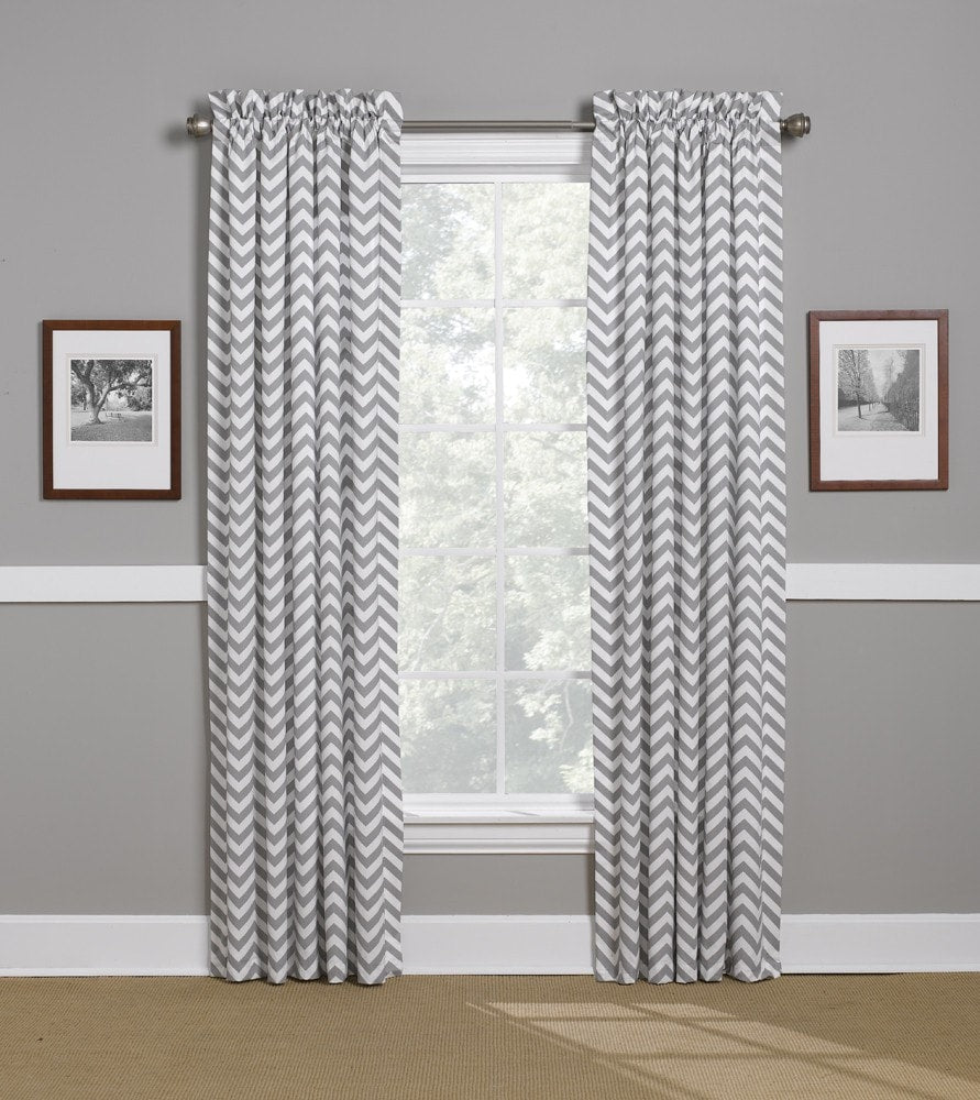 Gray Chevron Lined Curtains - liz-and-roo-fine-baby-bedding.myshopify.com