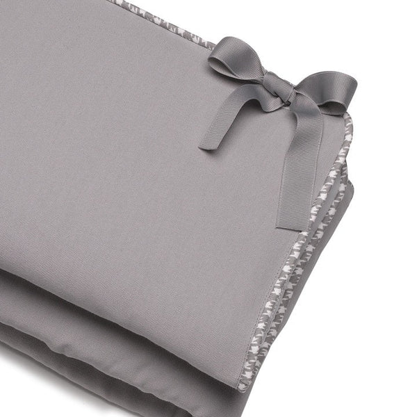 Gray Crib Rail Cover (Gray Houndstooth Trim) - liz-and-roo-fine-baby-bedding.myshopify.com - 1